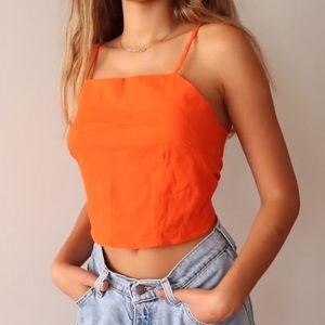 Orange Backless Self Tie Halter Top